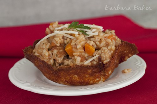 Risotto Bolognese in Fried Parmesan Bowls