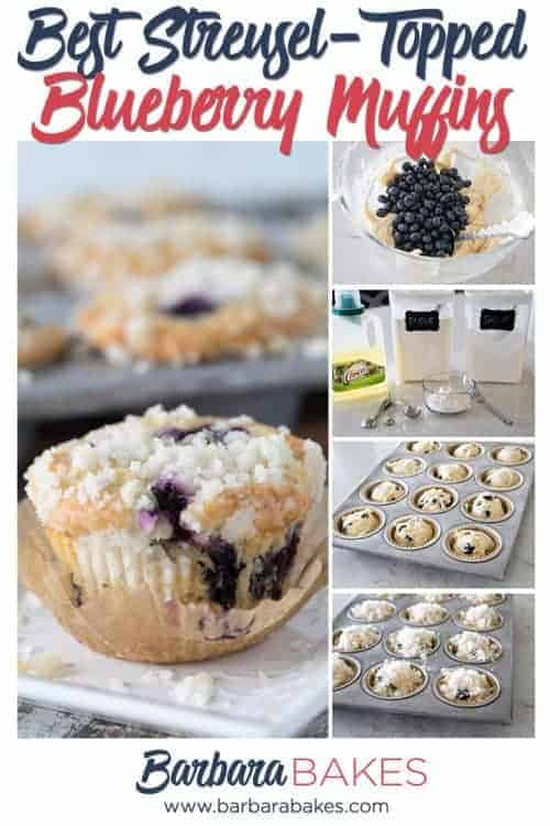 Pin for the Best Easy Blueberry Muffins with Streusel Topping, with process shots