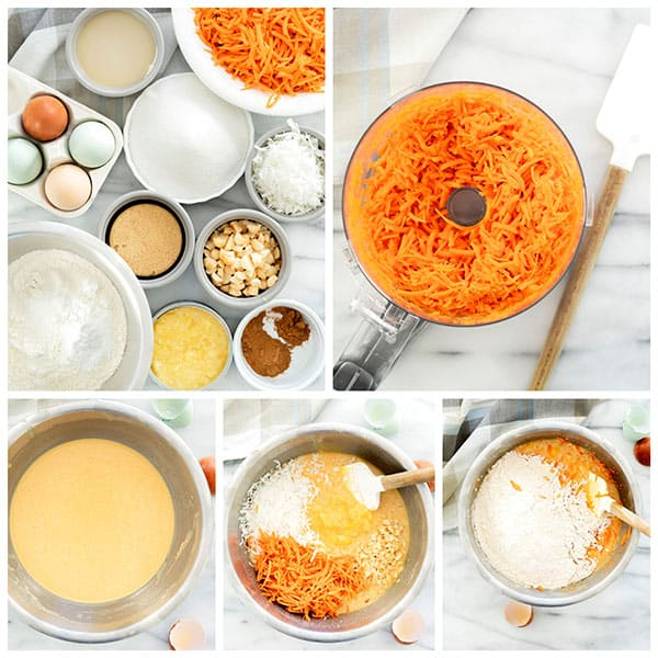 Collage of ingredients and mixing a tropical carrot cake