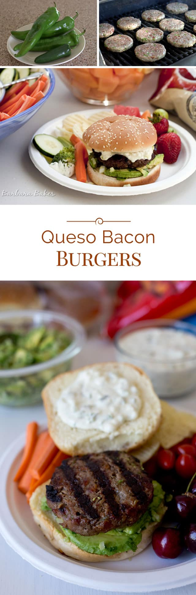 Burgers made with bacon and roasted peppers, dripping with a queso cheese sauce and loaded with an avocado salsa. A great way to kick it up a notch.