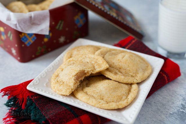 If you love a chewy cookie, you'll love this one. It's a chewy cookie with a caramel hidden inside, then rolled in sugar for a little crunch on the outside.