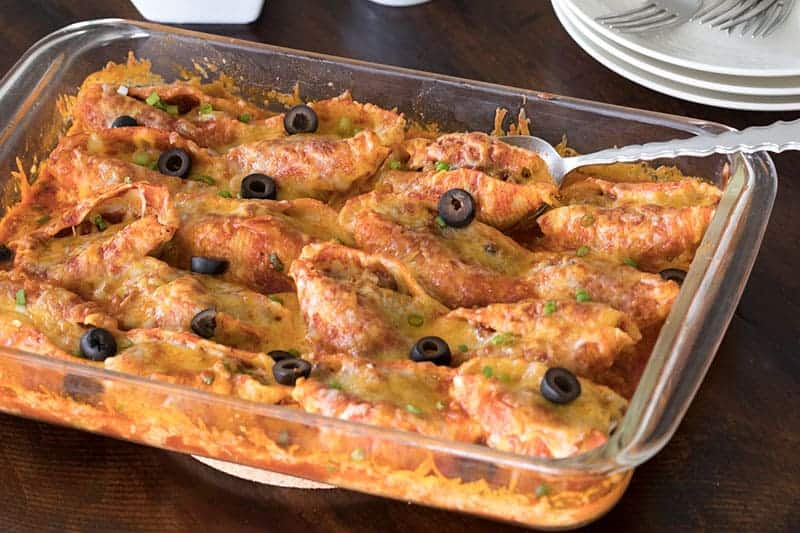 This Mexican Stuffed Pasta is a great recipe for feeding a crowd.