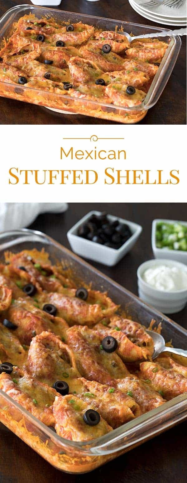 Today's recipe is a delicious fusion of spicy Mexican flavors with Italian pasta. These Mexican Stuffed Shells make a perfect weeknight meal.