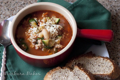 Pasta Fagioli – a hearty Italian soup loaded with chicken sausage, beans, pasta, and veggies.