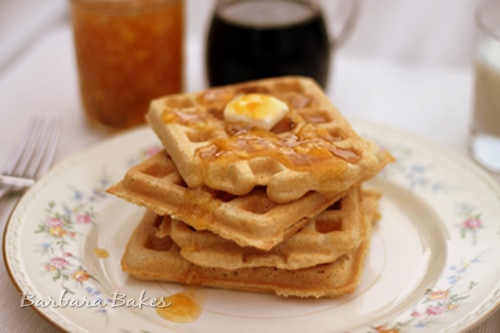 Light and Fluffy Whole Wheat Waffles are tender on the inside and crispy, golden outside. They're easy to whip up with ingredients I always have on hand.