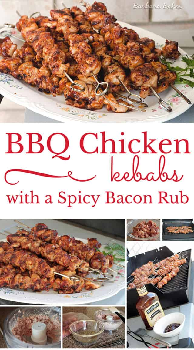 Slathering on a spicy bacon rub before grilling chicken kebabs not only gives them a wonderful smokey flavor, it also keeps the chicken moist and tender.