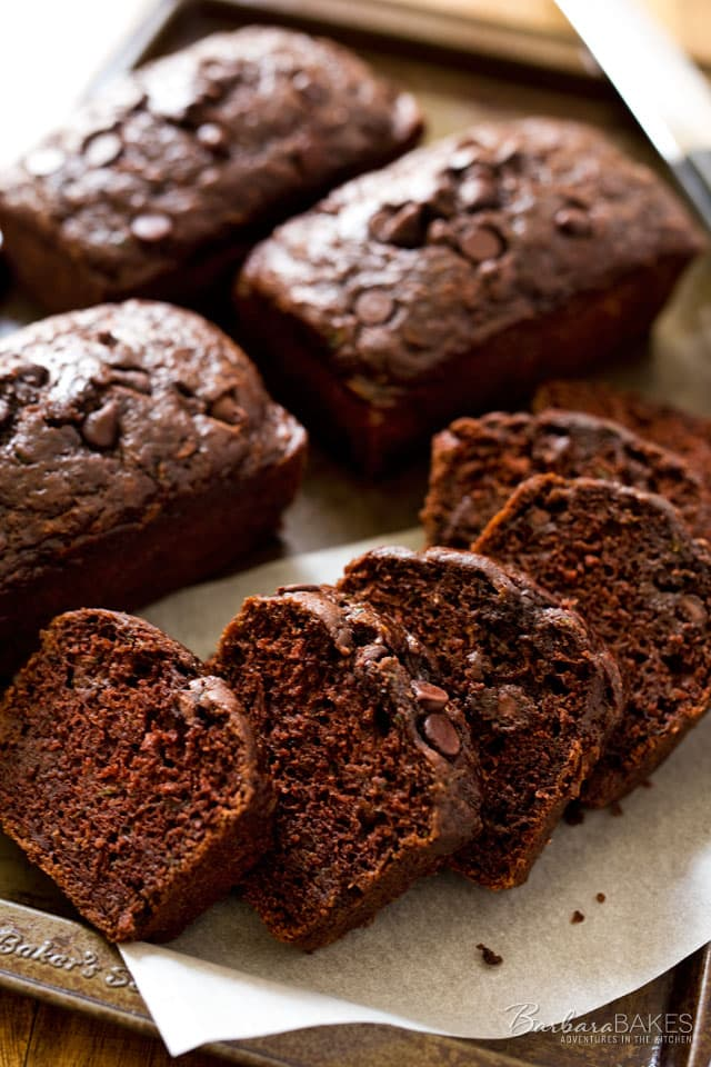 Chocolate-Chocolate-Chip-Zucchini-Bread-2-BarThis Chocolate Chocolate Chip Zucchini Bread is a moist, delicious, better-for-you double chocolate quick bread made with zucchini, non-fat Greek yogurt and canola oil.