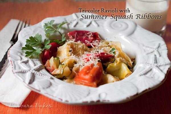 Cheese Ravioli with Summer Squash Ribbons