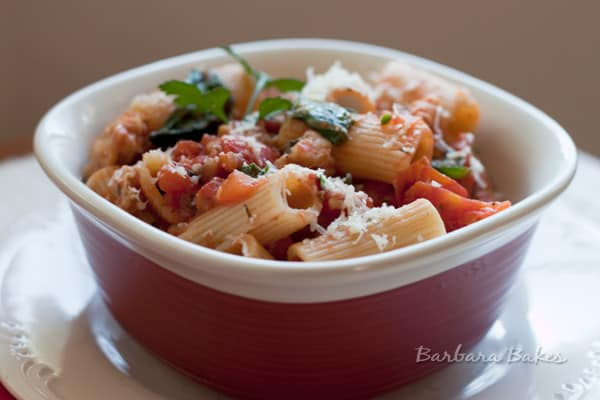 Rigatoni with Spicy Sausage Tomato Sauce, Spinach, and Parmesan