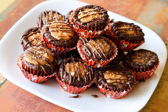 A rich, fudgy brownie filled with caramel, coconut and drizzled with chocolate. The flavors of a Samoa cookie in a decadent little brownie bite.