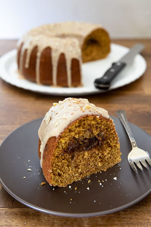 This Pumpkin Sour Cream Coffee Cake is perfect for fall. It's a moist, tender bundt cake with a brown sugar streusel filling and the warm flavors of fall.