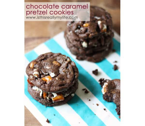 Chocolate Caramel Pretzel Cookies Recipe | Barbara Bakes