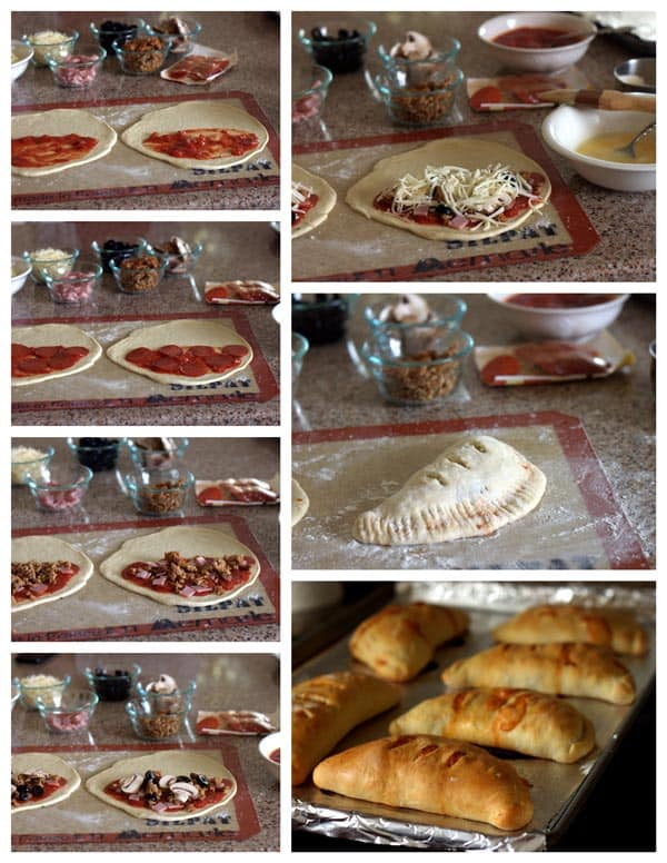 Making meat lovers calzones - step by step photo collage