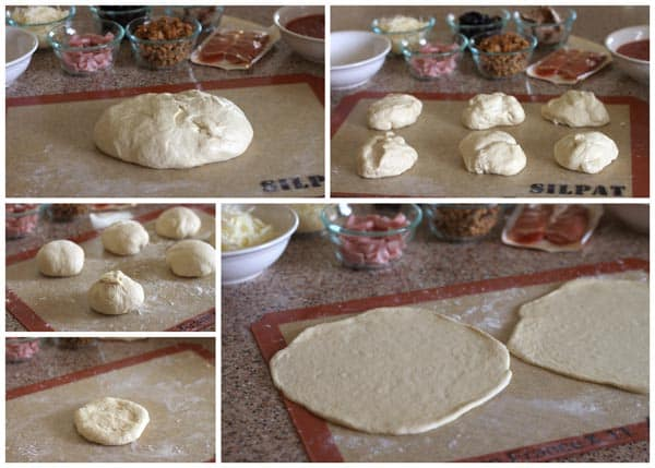 step by step photos showing how to make homemade calzone dough