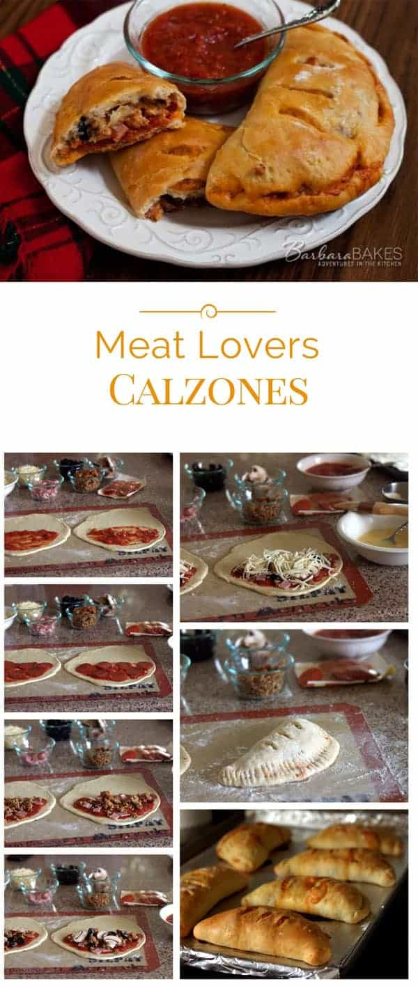 Step by step photo directions for making meat lovers calzones.