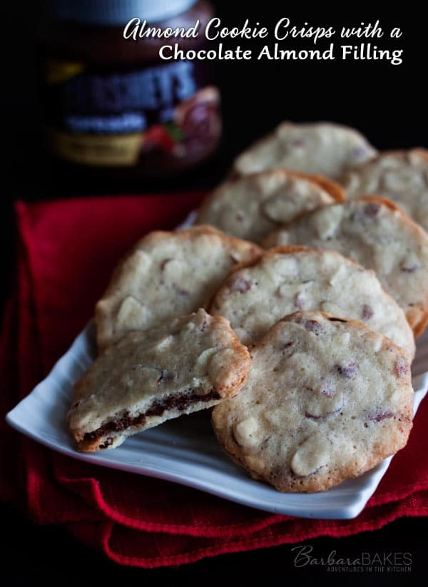 Almond Cookie Crisps with a Chocolate Almond Filling - A not-too-sweet, crispy, crunchy almond cookie sandwiched with a rich, creamy chocolate almond spread from Hershey's.