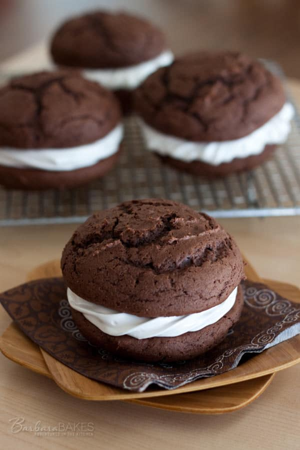 Chocolate Egg Nog Whoopie Pies