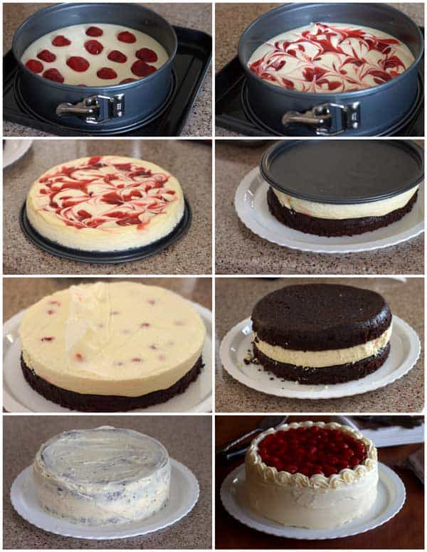 Swirled Cherry Cheesecake being baked inside of a black forest cake