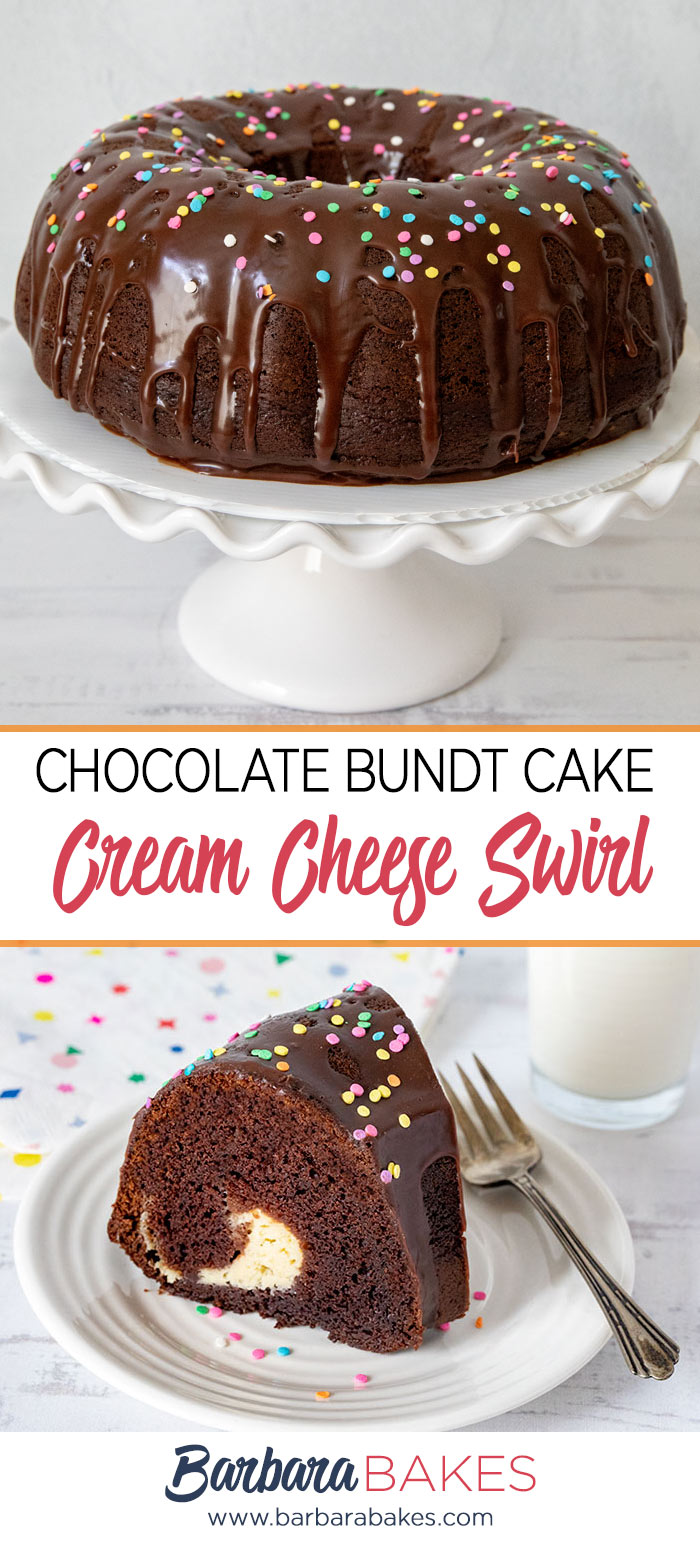Two photos of a chocolate bundt cake with a cream cheese swirl.