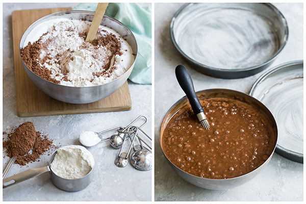 Step by step photos of making the chocolate cake