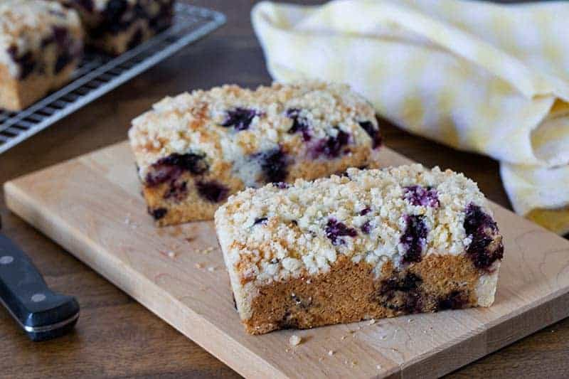 A moist, rich, delicious lemon blueberry quick bread baked in mini loaf pans; kind of a cross between a blueberry muffin and a blueberry coffee cake.