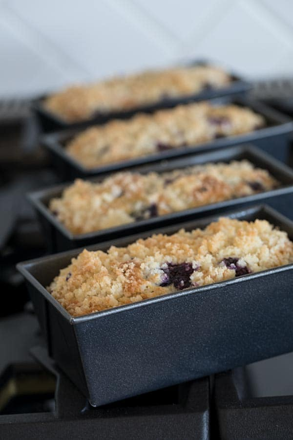 Lemon Blueberry Quick Bread in Mini Loaf Pans