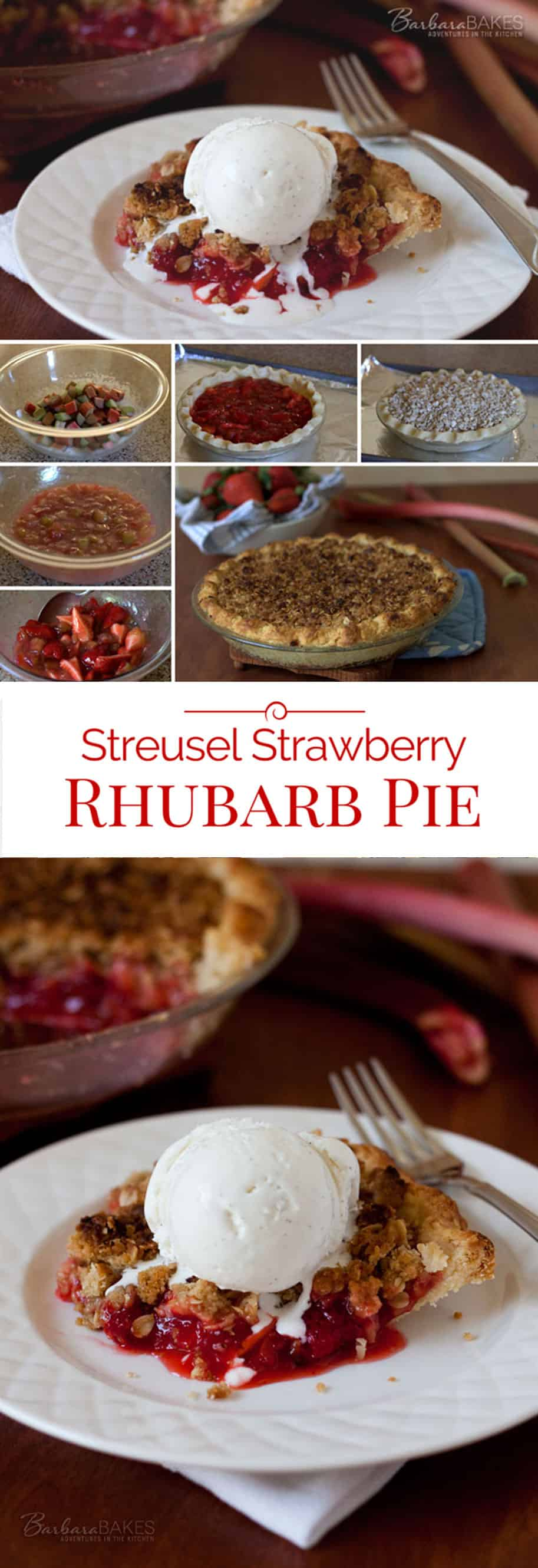 Fresh, sweet strawberries combined with tart rhubarb in a buttery, flaky pie crust and crowned with a sweet, crispy streusel top. A perfect combination of flavors and textures.