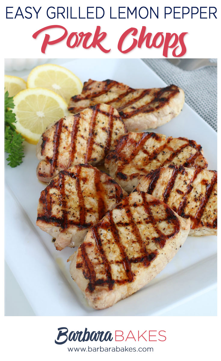Grilled Pork Chops with Lemon Slices