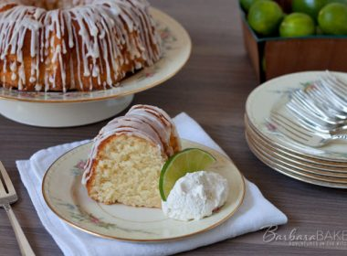 A sweet, moist, dense key lime pound cake drizzled with a tart key lime glaze. A delicious Southern twist to a traditional pound cake.