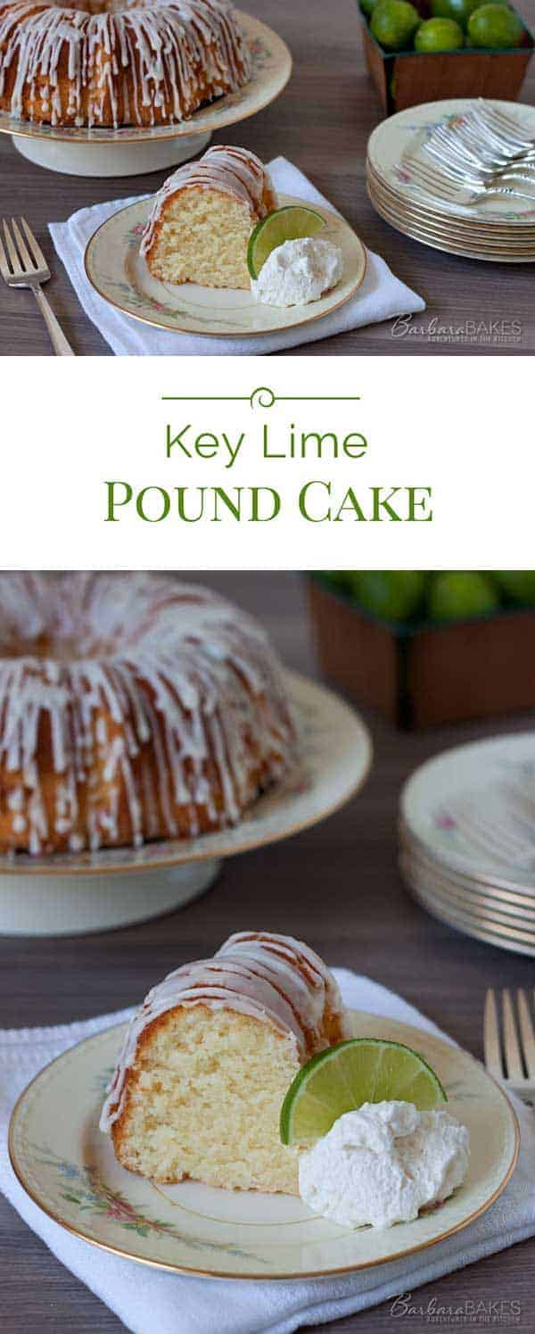 This popular Key Lime Pound Cake is a sweet, moist, dense key lime pound cake drizzled with a tart key lime glaze.