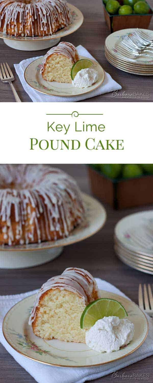 This popular Key Lime Pound Cake is a sweet, moist, dense key lime pound cake drizzled with a tart key lime glaze.