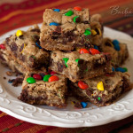 Chocolate Chip Coconut Oatmeal Bar Cookies with Dried Cherries and M&Ms