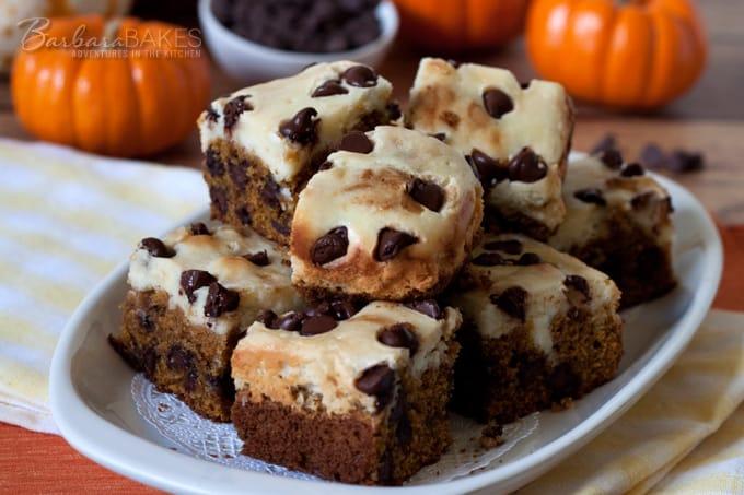 Pumpkin Chocolate Chip Cheesecake Bars