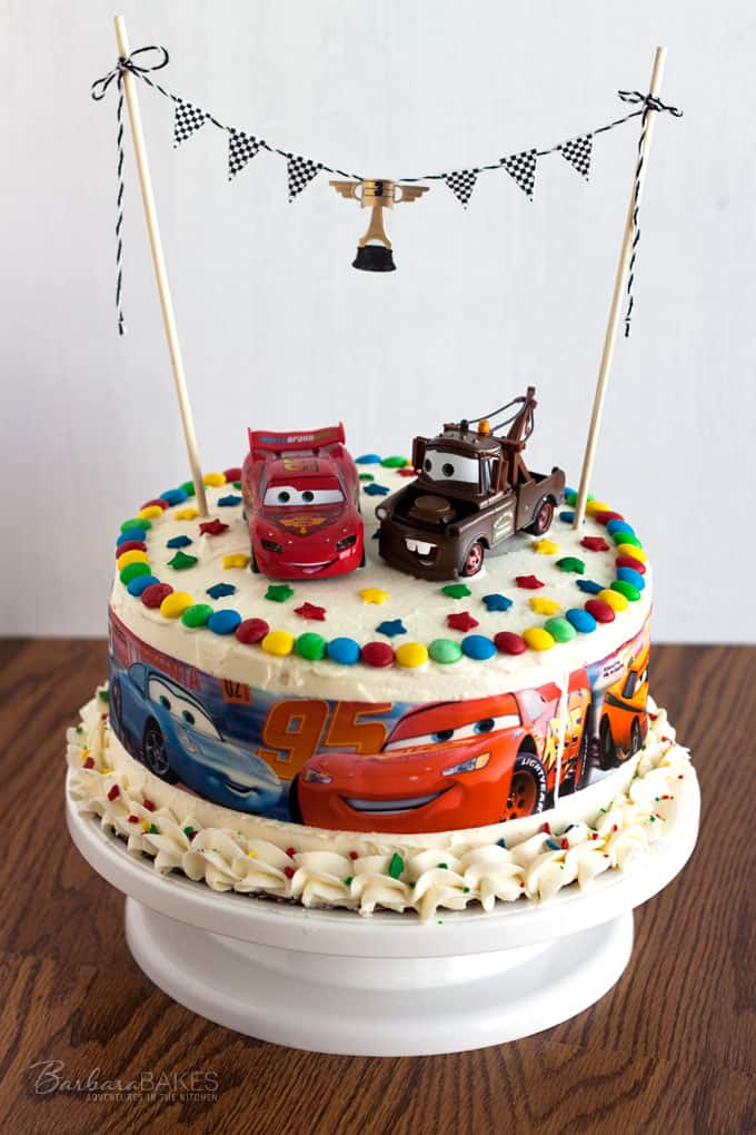 Cars Birthday Cake Single White Layer