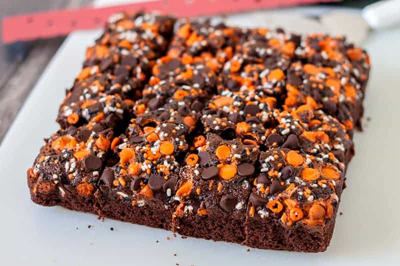 Halloween Pumpkin Brownies | box mix brownies - Barbara Bakes™