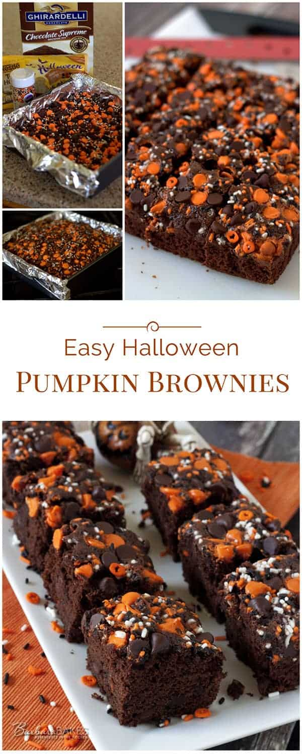 These fun, luscious, quick and easy Halloween Pumpkin Brownies start with a brownie mix, so they come together in a flash.