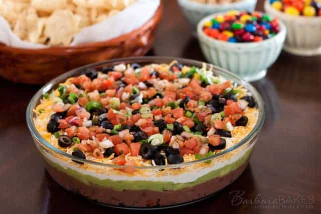 7 Layer Bean Dip made with fresh salsa