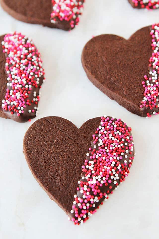 Chocolate Shortbread Heart Cookies