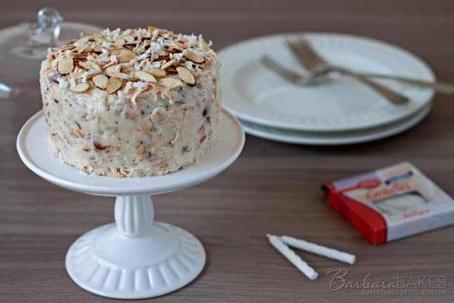 Chocolate Cake for Two with a Coconut Almond Cream Cheese Frosting