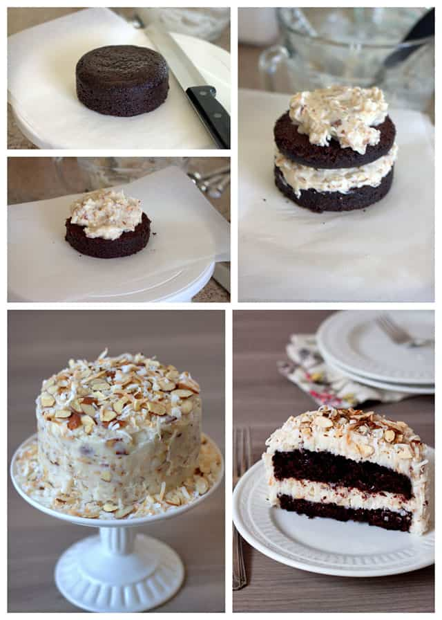 Making a Chocolate Cake for Two with a Coconut Almond Cream Cheese Frosting