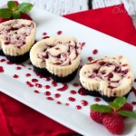 Heart Shaped Mini Raspberry Swirl Cheesecake