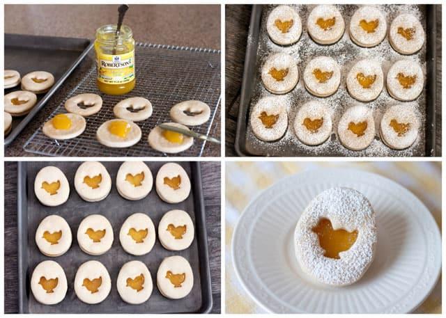 Making Lemon Easter Shortbread Sandwich Cookies with a Lemon Curd Filling.