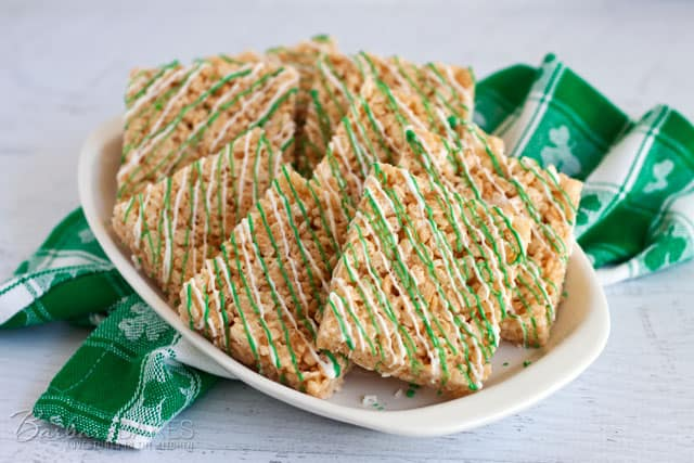 Quick and Easy to Make St. Patrick's Day Rice Krispie Treats from @Barbara Bakes