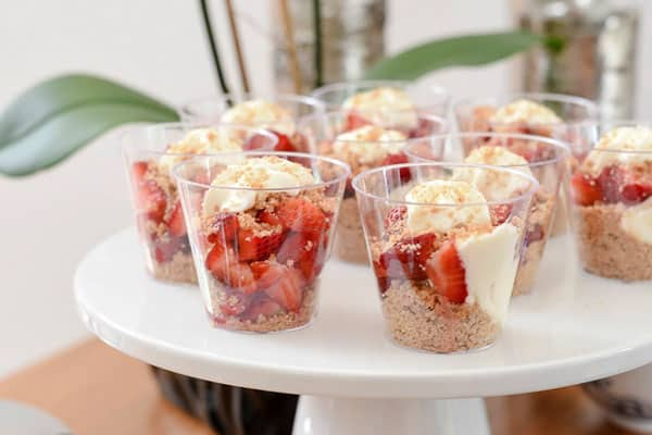 Strawberry Cheesecake in a Jar - a fun, easy way to serve cheesecake