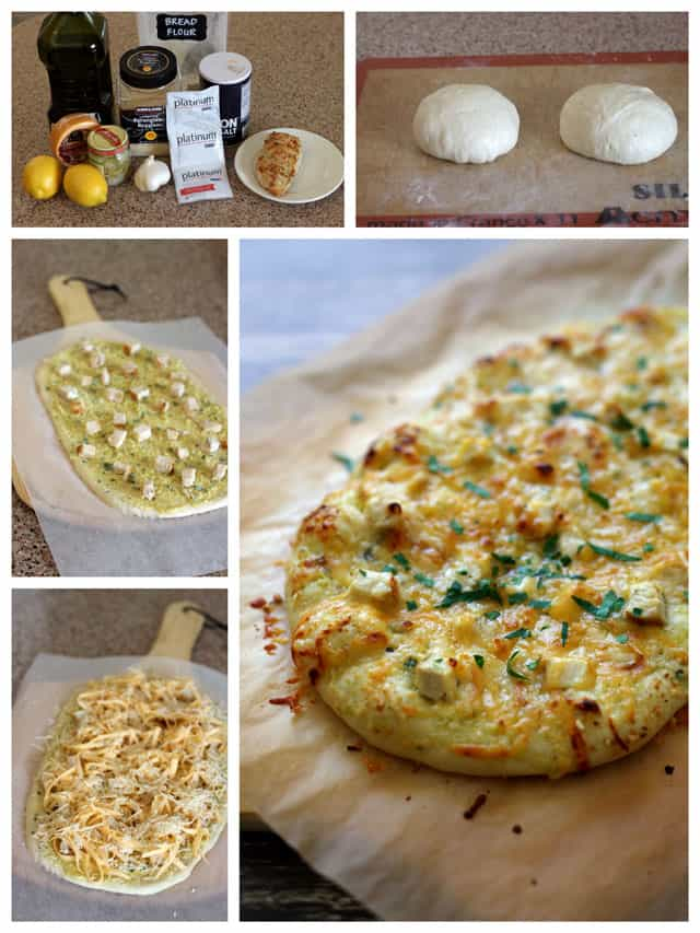 Making Lemon Artichoke Pesto Chicken Flatbread