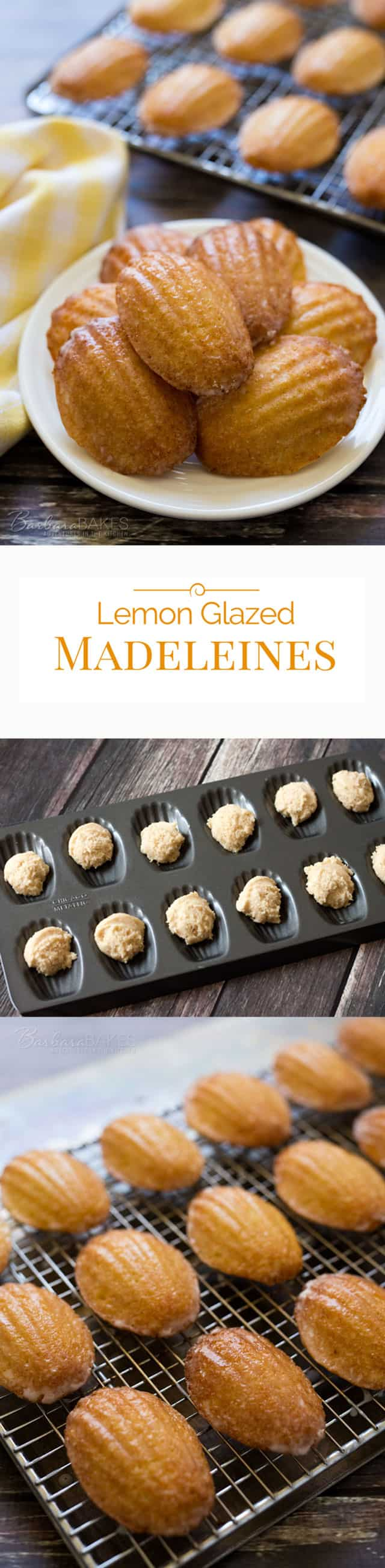 Tender little scalloped shaped lemon cakes coated with a tart lemon glaze. A beautiful French dessert that's easy to make.