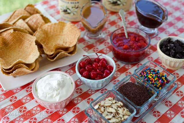 Summer Ice Cream Social with ice cream waffle bowls.