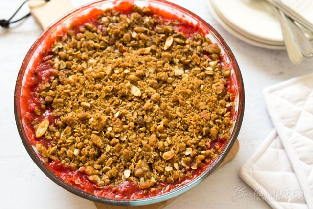 Strawberry Rhubarb Crisp hot out of the oven.
