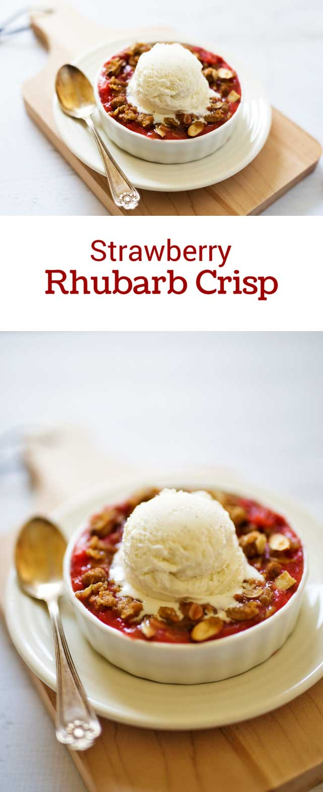 Tart rhubarb combined with sweet, ripe strawberries topped with a crisp oat and almond crumb topping, served piping hot with a scoop of vanilla bean ice cream. .