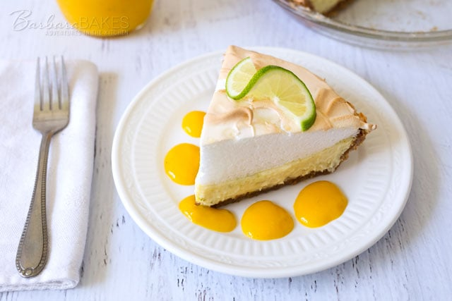 Key Lime Pie with a Mango Coulis
